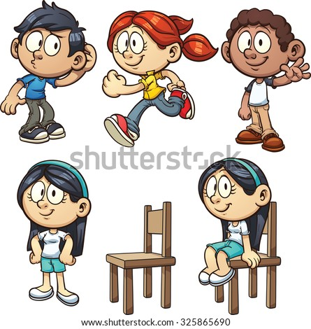 Cartoon kids performing different actions. Vector clip art illustration with simple gradients. Each on a separate layer. - stock vector