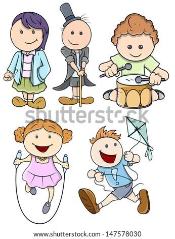 Cartoon Kids Playing - stock vector