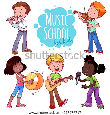 Cartoon kids playing musical instruments and singing. Vector clip art illustration on a white background.