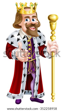 Cartoon king character illustration wearing a crown, holding a sceptre and giving a thumbs up