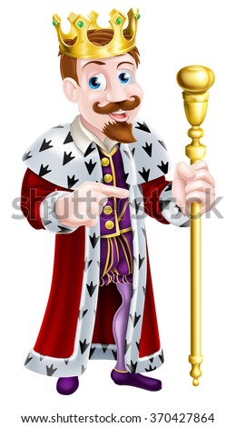 Cartoon king holding a sceptre and giving a thumbs up - stock vector