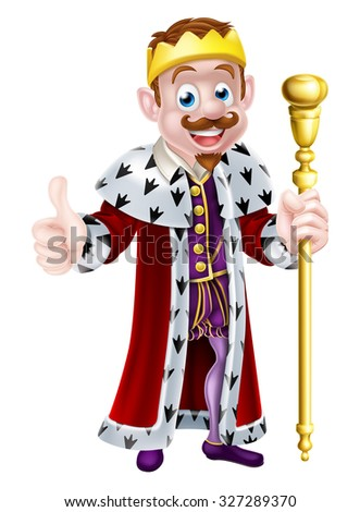 Cartoon king wearing a gold crown, holding a sceptre and doing a thumbs up - stock vector