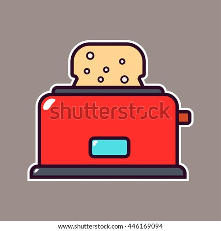 cartoon kitchen toaster icon with outline
