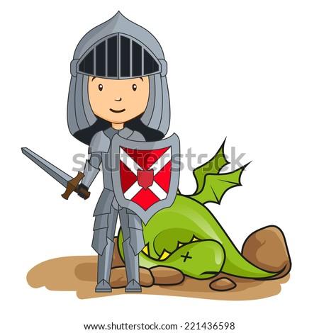 Cartoon knight victorious over the dragon - stock vector