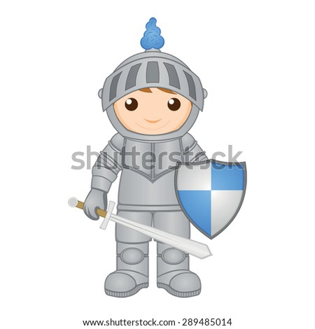 Cartoon knight with sword and shield - stock vector