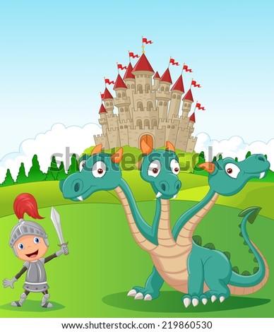 Cartoon knight with three headed dragon - stock vector
