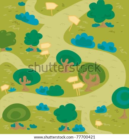 Cartoon labyrinth forest. - stock vector