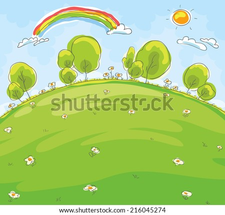 Cartoon landscape, imitation of a child's drawing - stock vector