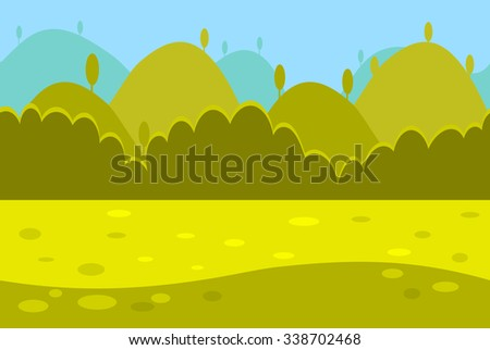 Cartoon Landscape of Green Meadows, Hills and Trees for Game, Vector Illustration - stock vector