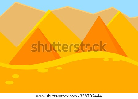 Cartoon Landscape of Orange and Yellow Desert Pyramids for Game, Vector Illustration - stock vector