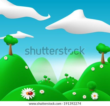 Cartoon landscape. vector eps 10 - stock vector