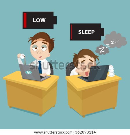cartoon lazy and busy businessman office, vector, illustration