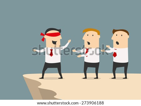 Cartoon leader of a business team with blindfold leads them to the abyss, for management or responsibility concept design - stock vector