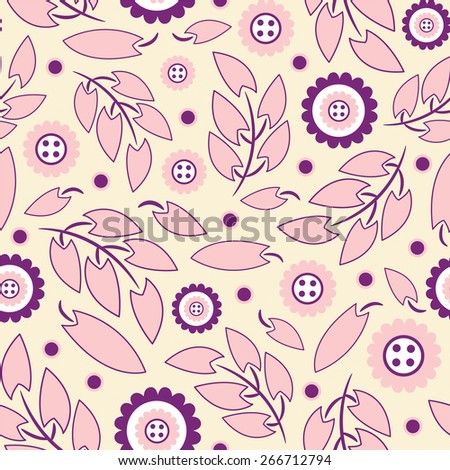 cartoon leaves and flowers on a yellow background in seamless pattern - stock vector