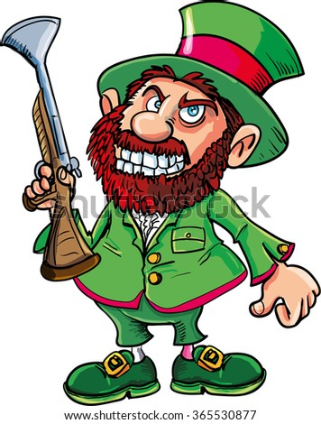 Cartoon Leprechaun cowboy with blunderbuss. Isolated on white