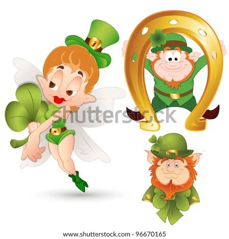 Cartoon Leprechaun Illustration-St. Patrick's Day Cartoon Vector Illustration - stock vector
