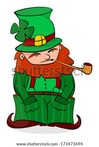 Cartoon leprechaun on a white background. Vector clip art. Easy to add to any design.
