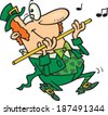 cartoon leprechaun playing a flute - stock photo