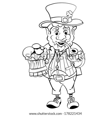 Cartoon Leprechaun with a pot of ale foam.  St. Patrick's Day. Drawing style black  - stock vector