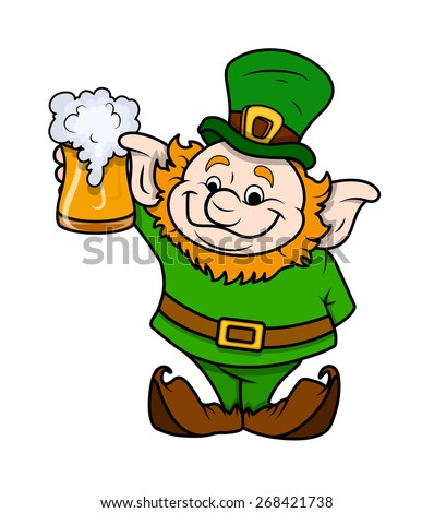 Cartoon Leprechaun with Beer Glass