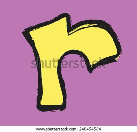 cartoon letter r - stock vector
