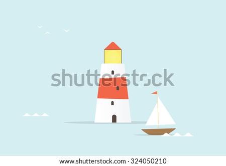 cartoon lighthouse - stock vector