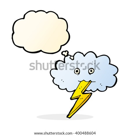 cartoon lightning bolt and cloud with thought bubble - stock vector
