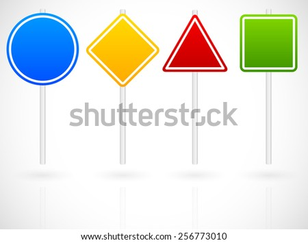 Cartoon Like Set of Various Road Signs. Circle, square, triangle, square roadsigns in blue, yellow, red and green on metallic poles. Vector graphics - stock vector