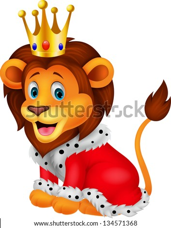 Cartoon lion in king outfit - stock vector