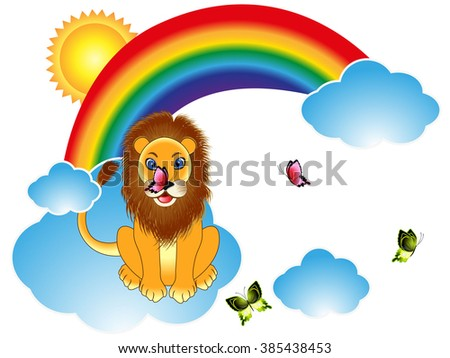 Cartoon lion with butterflies on rainbow clouds.