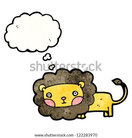 cartoon lion with thought bubble - stock vector