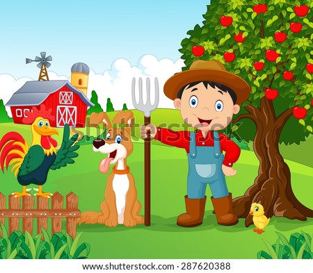 Cartoon little boy and dog in the farm - stock vector