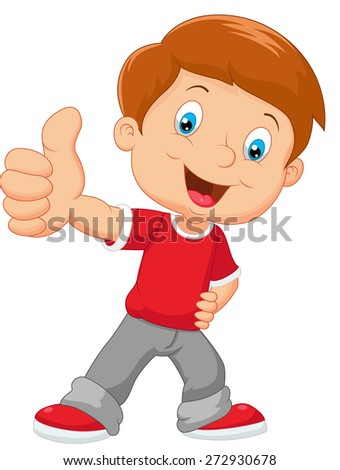 Cartoon little boy giving thumb up - stock vector