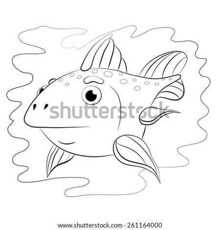 Cartoon little fish-moon. Coloring book. - stock vector