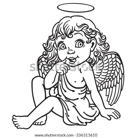 cartoon little girl angel . Black and white outline image