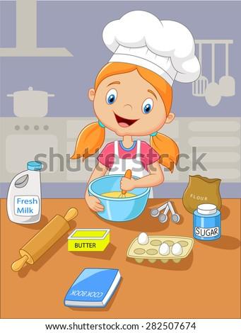 Cartoon little girl holding batter cake - stock vector
