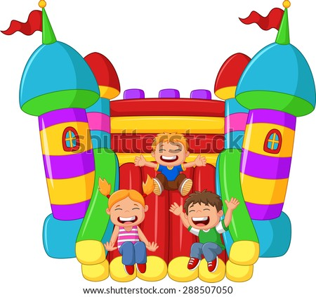cartoon little kid playing slide on the inflatable balloon - stock vector