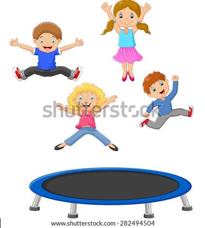 Cartoon little kid playing trampoline - stock vector