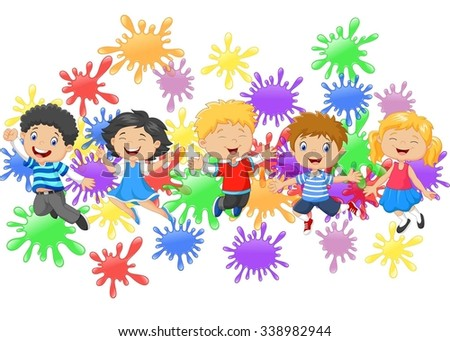 Cartoon little kids jumping together with collection of paint splash - stock vector