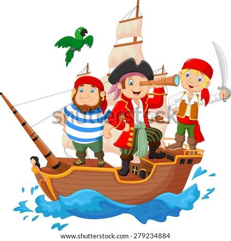 Cartoon little pirate was surfing the ocean - stock vector