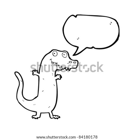cartoon lizard with speech bubble - stock vector