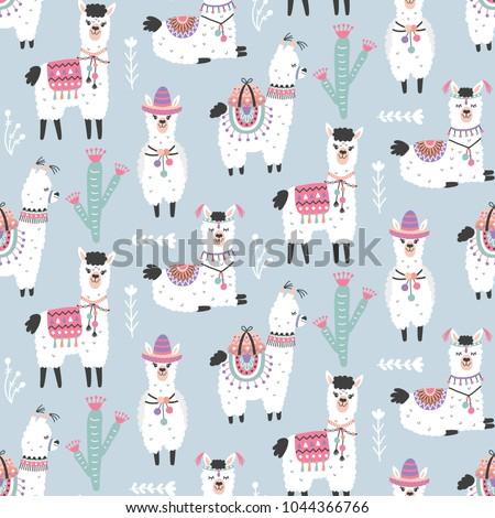 Cartoon Llama Alpaca Seamless Pattern Hand Drawn Elements Nursery Childish Textile Wallpaper