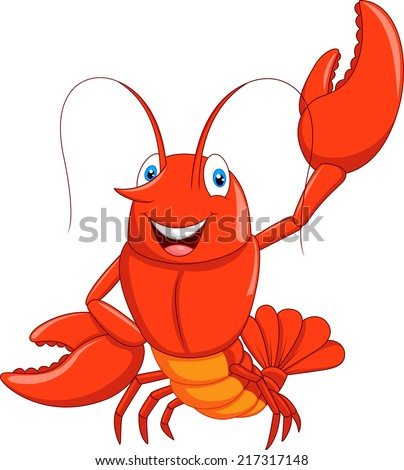 Cartoon lobster waving  - stock vector