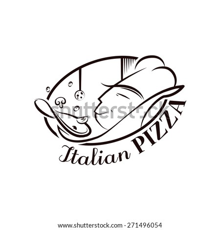 Cartoon Logo Italian Pizza Chef For Your Design - stock vector