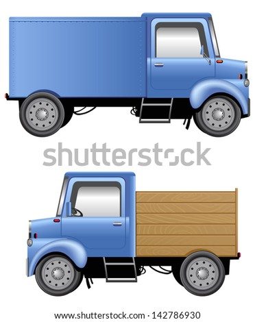 Cartoon lorries isolated on white EPS10. Mesh tool is used. No transparency. - stock vector