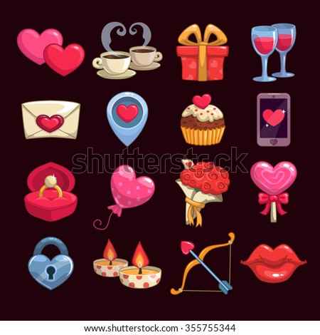 Cartoon love and passion icons, vector stickers for Valentine's Day items design - stock vector
