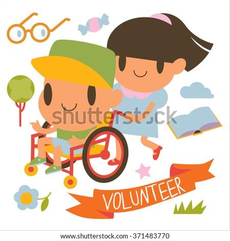 Cartoon lovely cartoon volunteer girl and boy in wheelchair.  - stock vector