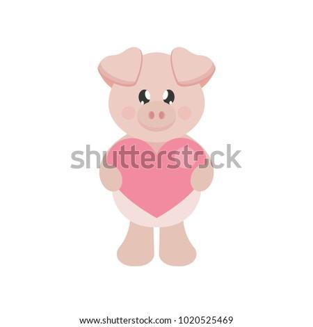 Cartoon Lovely Pig With Heart