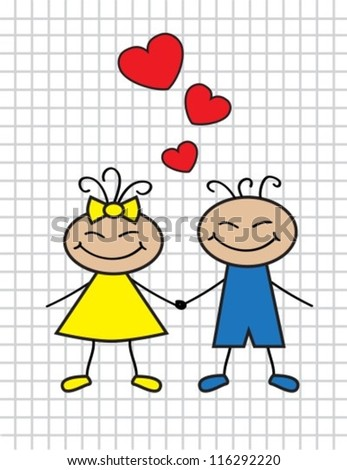 cartoon-loving children boy and girl with hearts - stock vector