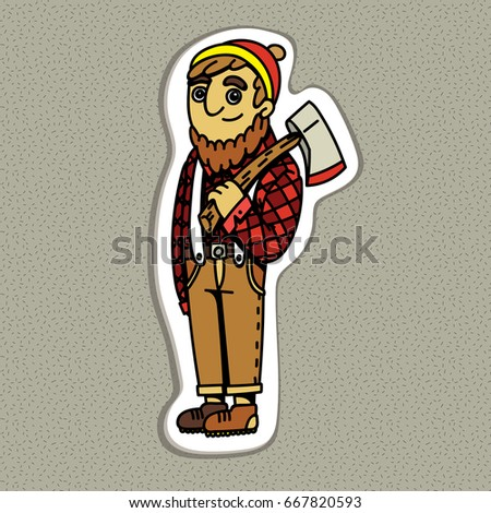 Cartoon lumberjack holding an axe vector illustration flat design cartoon canadian sticker